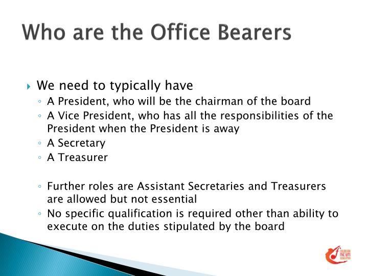 Who are the Office Bearers
