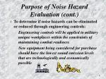 purpose of noise hazard evaluation cont1