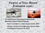 purpose of noise hazard evaluation cont3