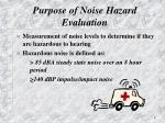 purpose of noise hazard evaluation