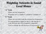 weighting networks in sound level meters