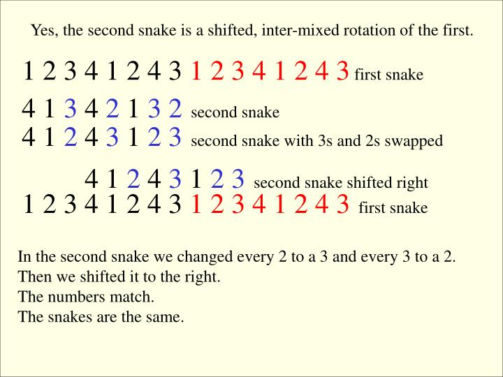 Yes, the second snake is a shifted, inter-mixed rotation of the first.