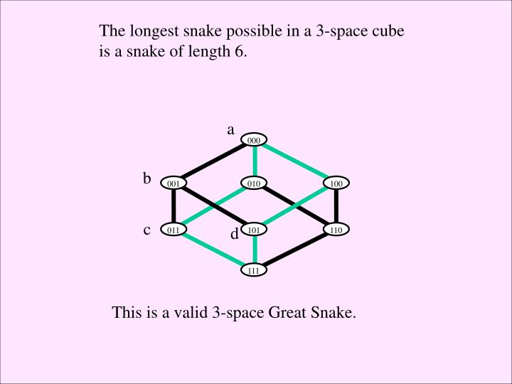The longest snake possible in a 3-space cube