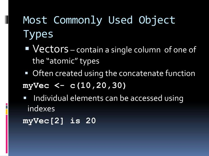 Most Commonly Used Object Types