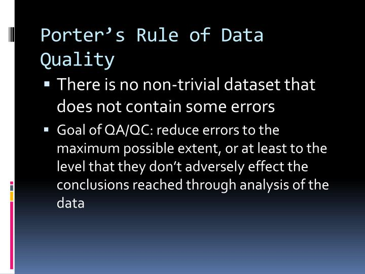 Porter's Rule of Data Quality
