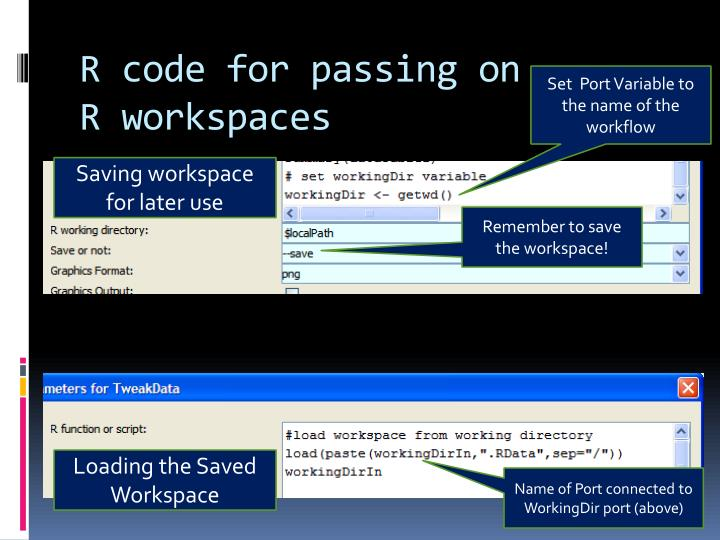 R code for passing on R workspaces