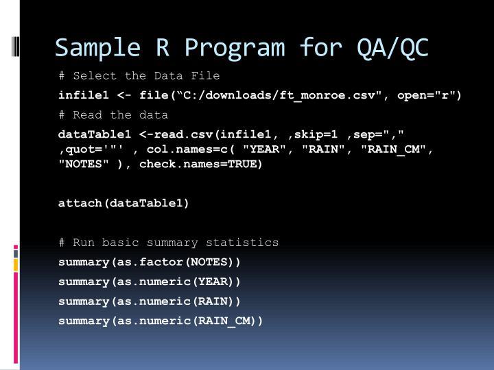 Sample R Program for QA/QC