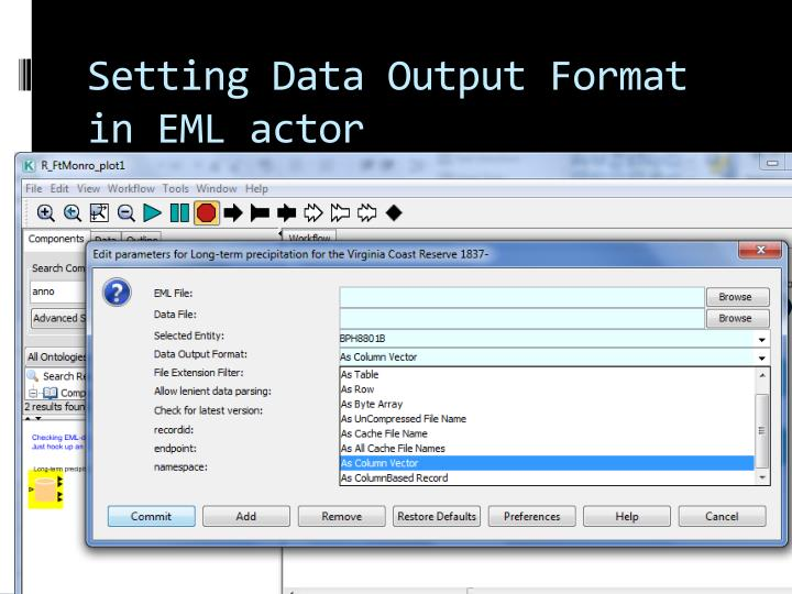 Setting Data Output Format in EML actor