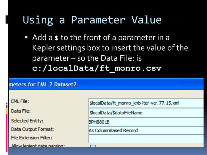 Using a Parameter Value