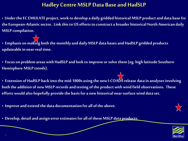 Hadley Centre MSLP Data Base and HadSLP
