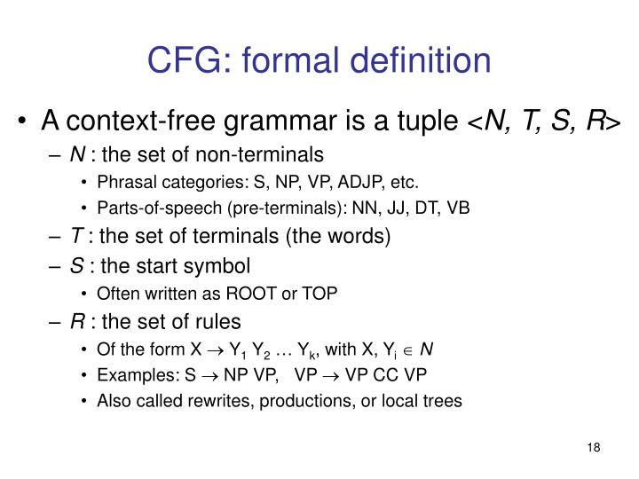 CFG: formal definition