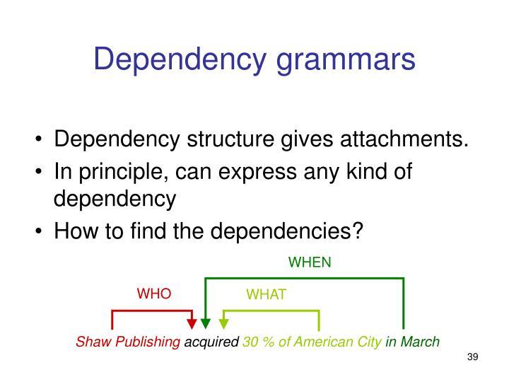 Dependency grammars