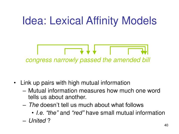 Link up pairs with high mutual information