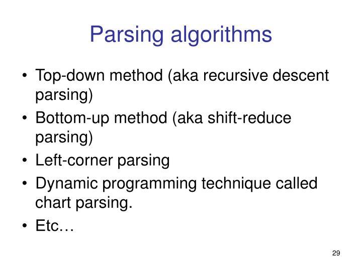 Parsing algorithms