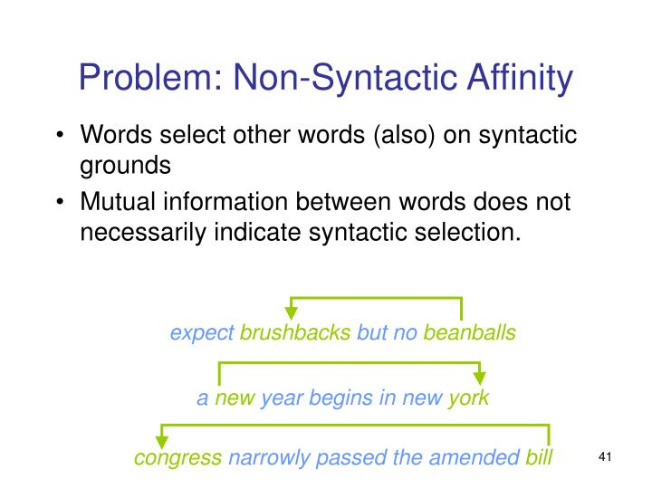 Problem: Non-Syntactic Affinity