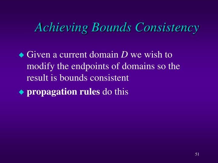Achieving Bounds Consistency