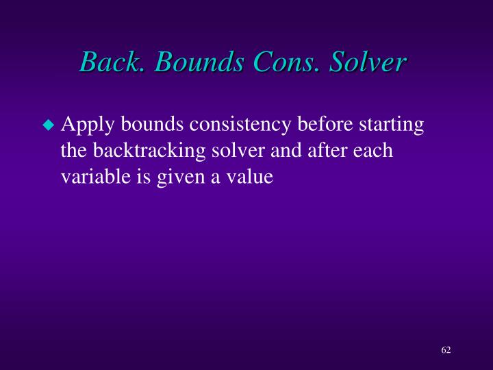 Back. Bounds Cons. Solver