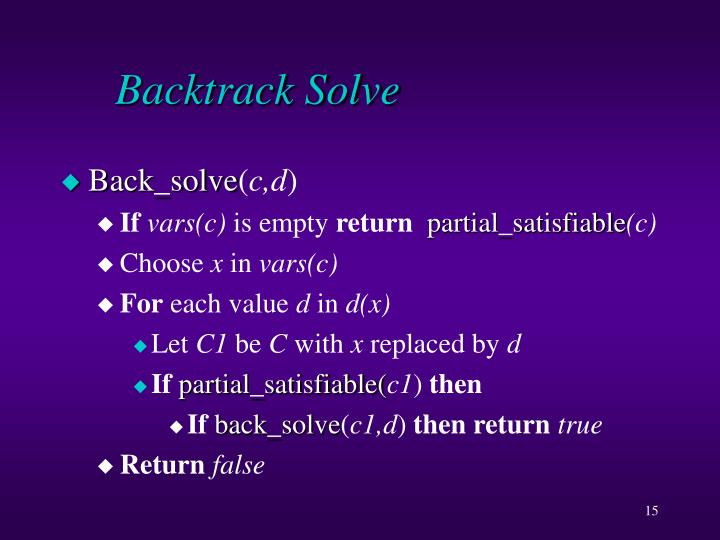 Backtrack Solve