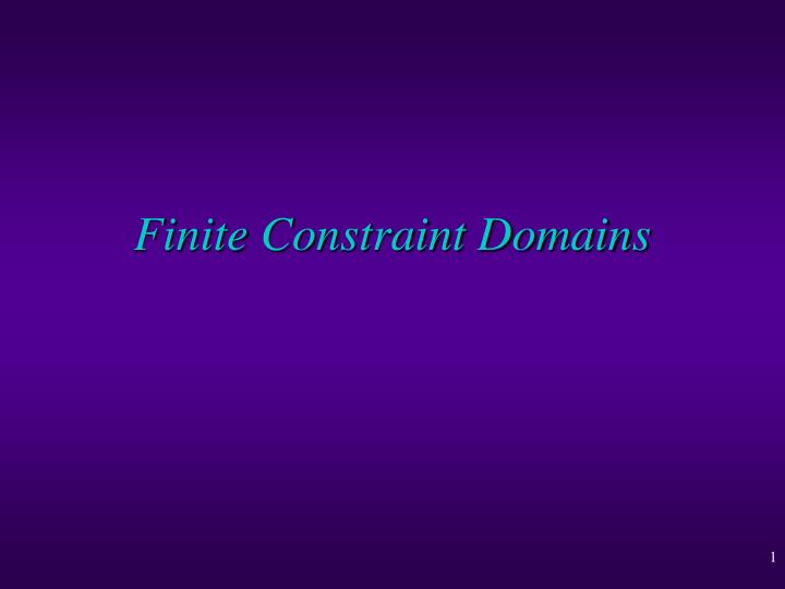 Finite Constraint Domains