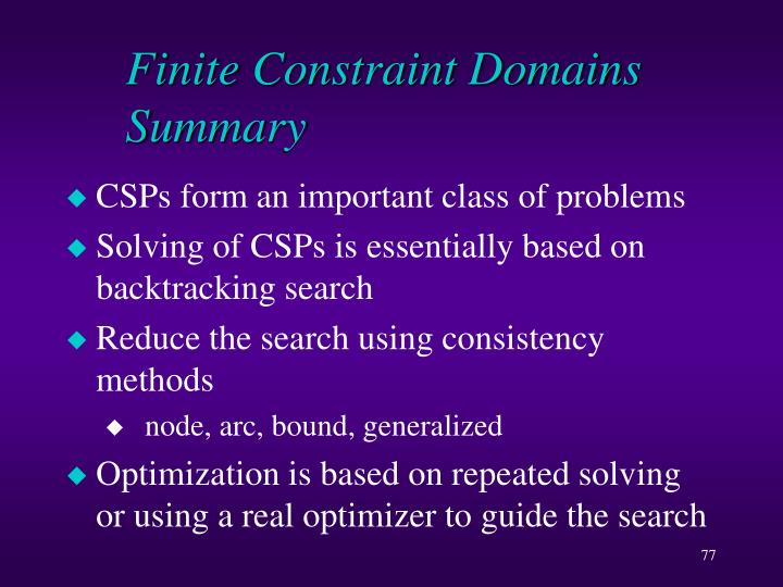 Finite Constraint Domains Summary
