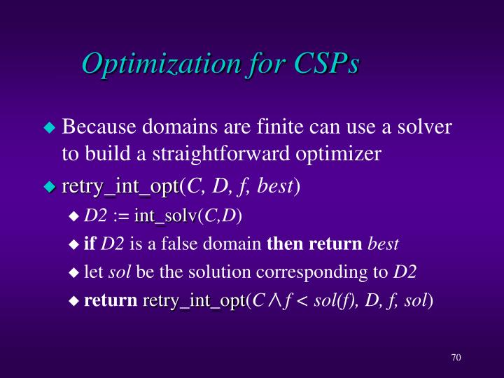 Optimization for CSPs