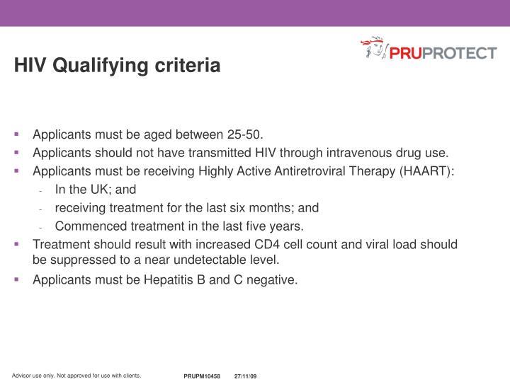 HIV Qualifying criteria