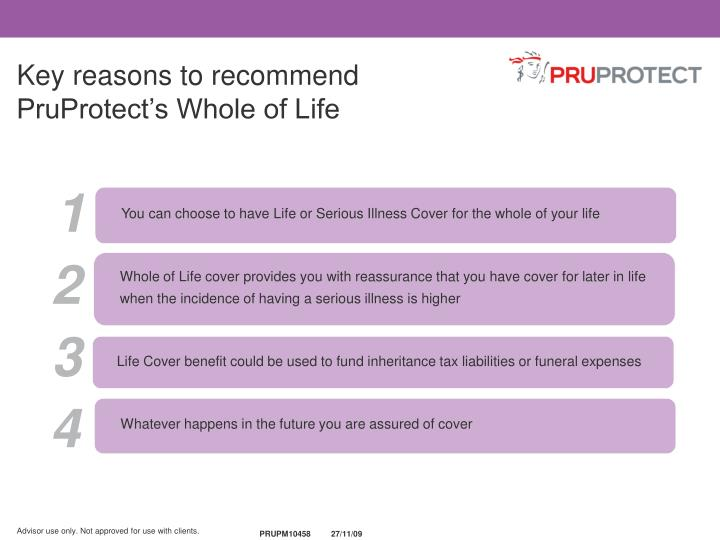 Key reasons to recommend PruProtect's Whole of Life