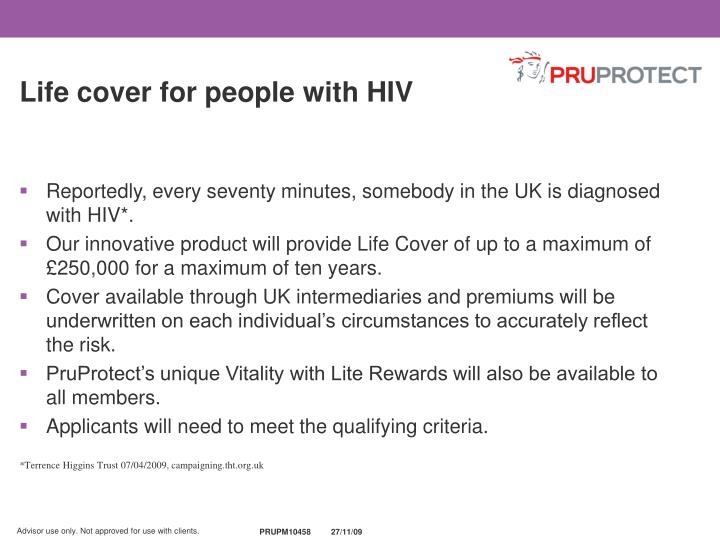 Life cover for people with HIV