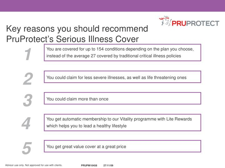 Key reasons you should recommend PruProtect's Serious Illness Cover