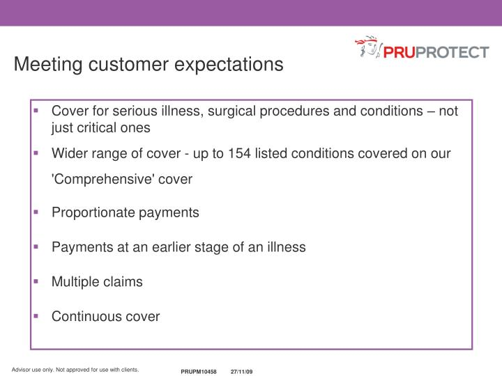 Meeting customer expectations