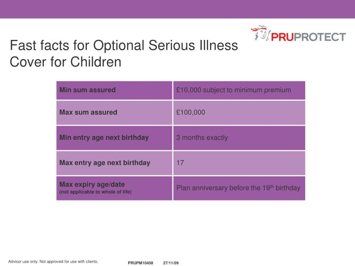 Fast facts for Optional Serious Illness Cover for Children