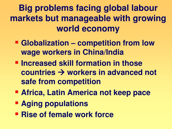 Big problems facing global labour markets but manageable with growing world economy
