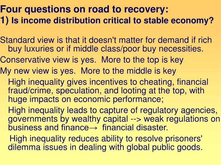Four questions on road to recovery: