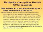 the high tide of these policies howard s wc law in australia