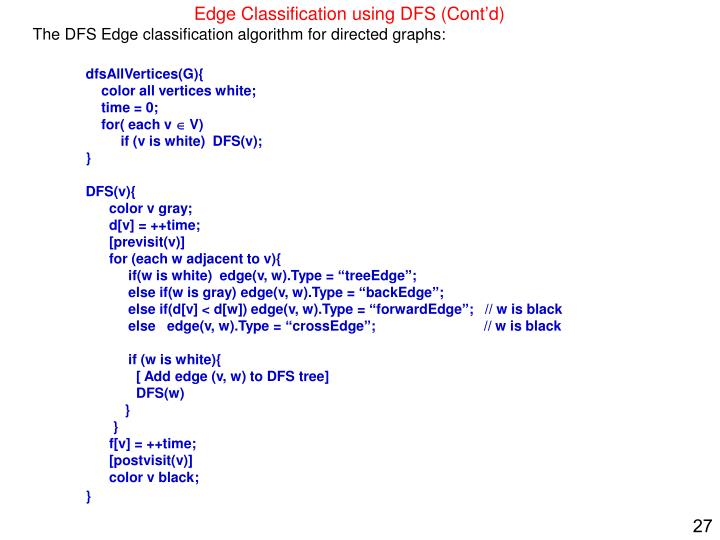 The DFS Edge classification algorithm for directed graphs: