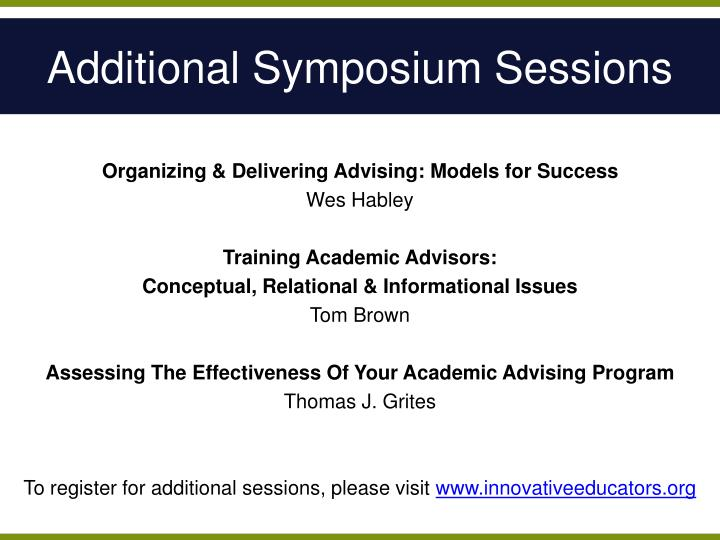 Additional symposium sessions