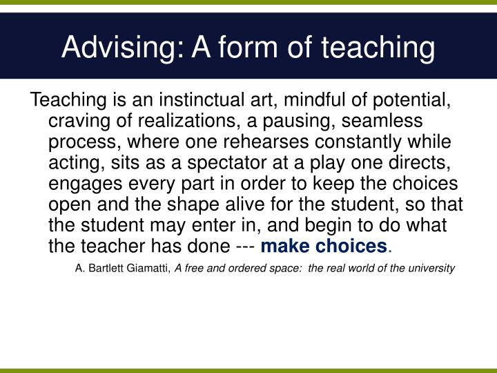 Advising: A form of teaching
