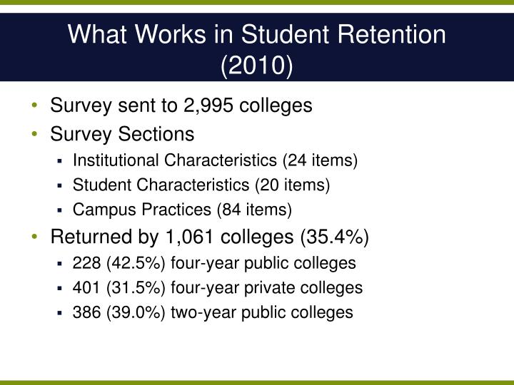 What Works in Student Retention (2010)