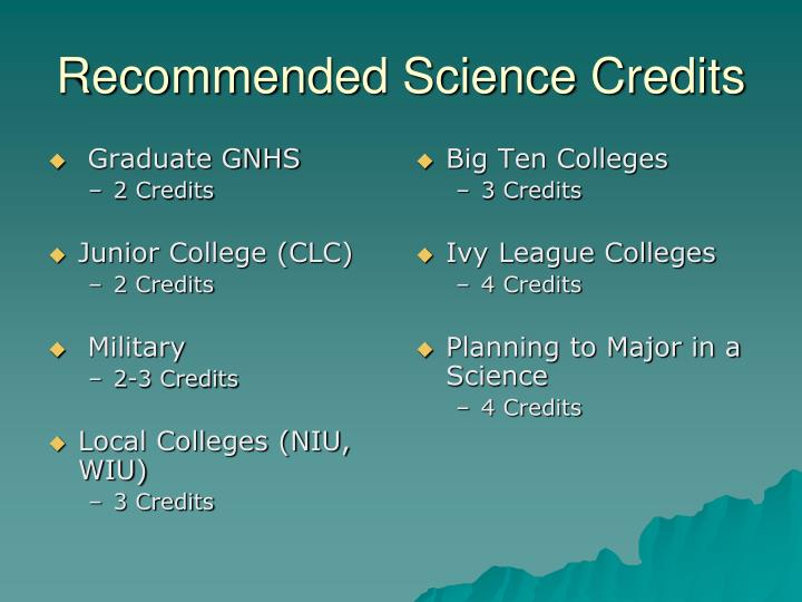 Recommended science credits
