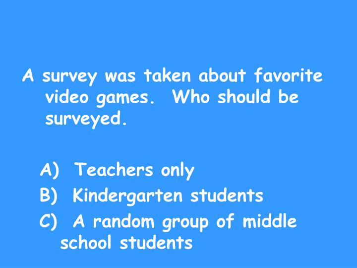 A survey was taken about favorite video games.  Who should be surveyed.