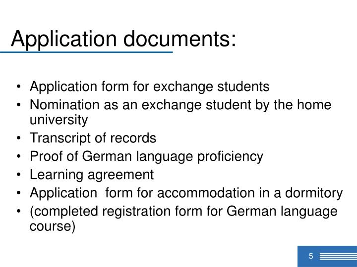 Application documents: