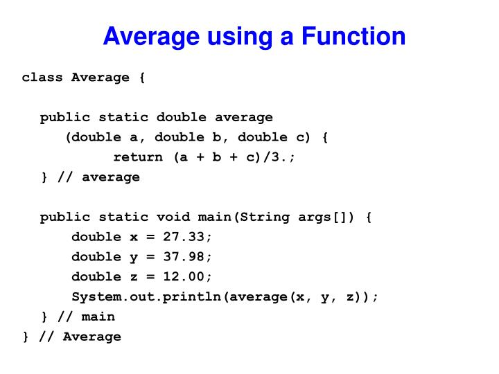 Average using a Function