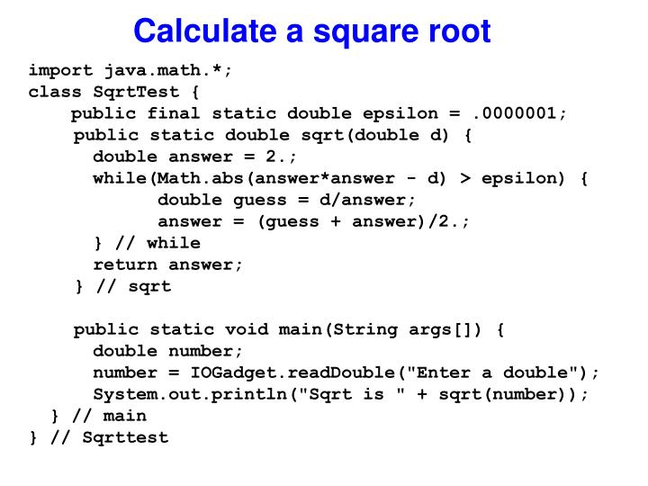 Calculate a square root