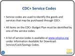cdc service codes