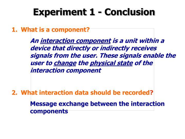 Experiment 1 - Conclusion