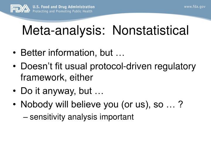 Meta-analysis:  Nonstatistical