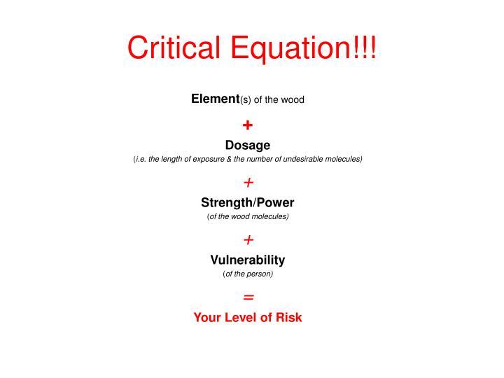 Critical Equation!!!