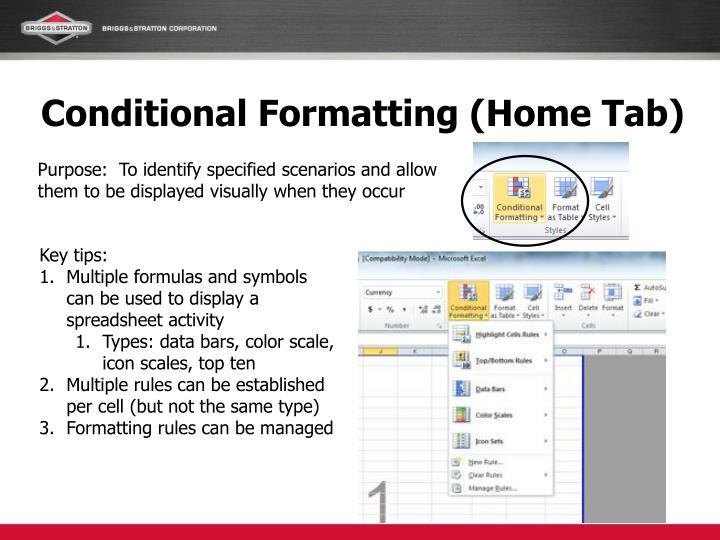 Conditional Formatting (Home Tab)
