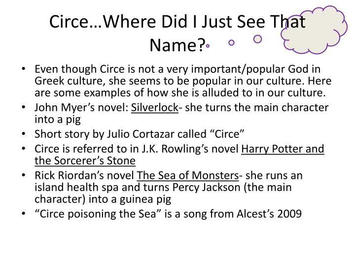 Circe…Where Did I Just See That Name?