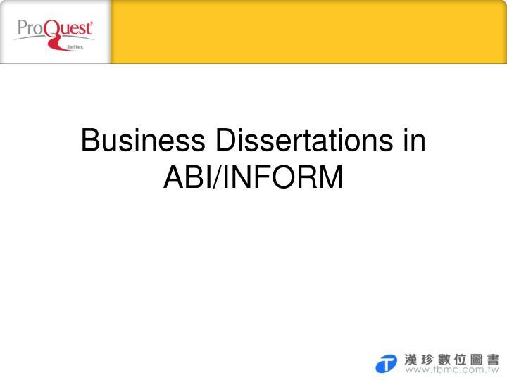 Business Dissertations in ABI/INFORM